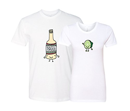 Panoware Matching Couple T-Shirts | Men's Tequila, White, Small