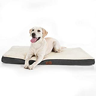 Bedsure Extra Large Dog Bed for Small, Medium, Large and Jumbo Dogs/Cats Up to 100lbs - Orthopedic Egg-Crate Foam with Removable Washable Cover - Water-Resistant Pet Mat for Crate, Grey