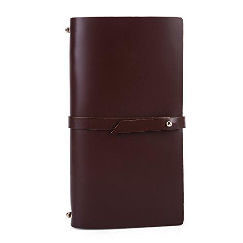 UBaymax Women Crimson Vintage Handmade Genuine Smooth Leather Refillable Diary Planner,Organiser Binder Writing Personal Journal For Lady Girls
