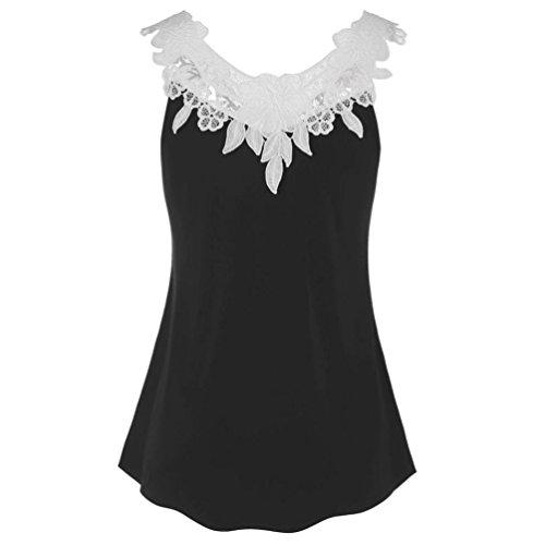 Sleeve V-neck Hardware - Clearance 2018 Summer Lace Vest, PeiZe Vintage Lace Casual Crochet Applique Black Loose Tank Top Blouse for Women Girls (L2)