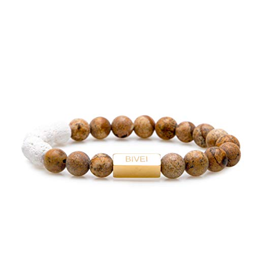 Bivei Essential Oil Diffuser Bracelet, Women Lava Rock Stone Gemstone Bead Golden Metal Fitting Stress Relief Bracelet(Picture Jasper) -