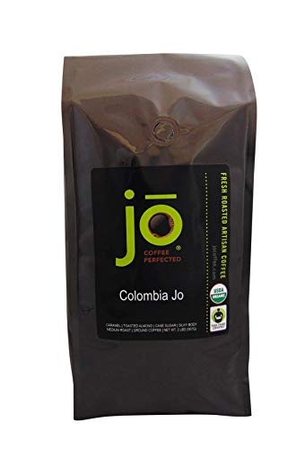 COLOMBIA JO: 2 lb, Organic Ground Colombian Coffee, Medium Roast, Fair Trade Certified, USDA Certified Organic, 100% Arabica Coffee, NON-GMO, Gourmet Coffee from the Jo Coffee Collection