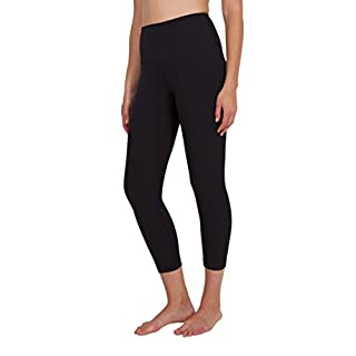 "90 Degree By Reflex High Waist Squat Proof Capris - 22"" Interlink Workout Capris - Black - Medium"