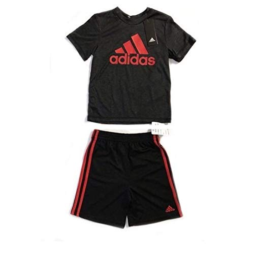 adidas Two-Piece Active Tee T-Shirt & Shorts Set Boy's Black/Red (5)