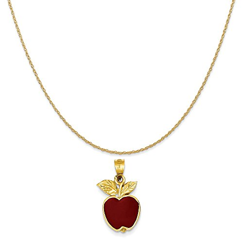 Mireval 14k Yellow Gold Polished Red Enameled Apple Pendant on 14K Yellow Gold Rope Chain Necklace, 18