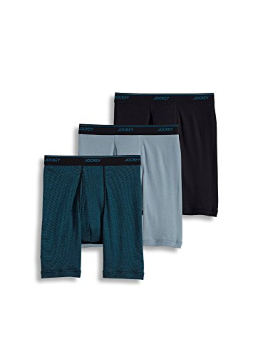 Jockey Men's Underwear Staycool Midway Brief - 3 Pack, Black/Black & Turquoise Stripe/Silver line Blue, S