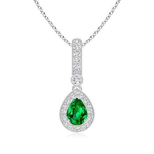 Vintage Style Emerald Drop Pendant with Diamond Halo in Platinum (7x5mm Emerald)