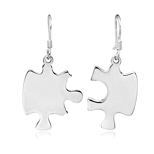 Connection Jigsaw Puzzle Pieces .925 Sterling Silver Dangle Earrings