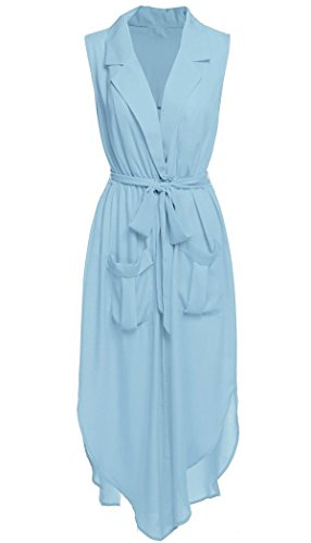 OURS Women's Low Cut Tie Waist Split Chiffon Long Beach Dress Cover Ups (S, Light Blue) (Blue Dress Ups)