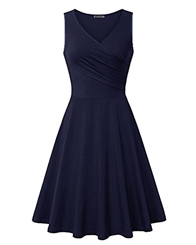 KILIG Women's V Neck Sleeveless Summer Casual Elegant Midi Dress(Navy,M)