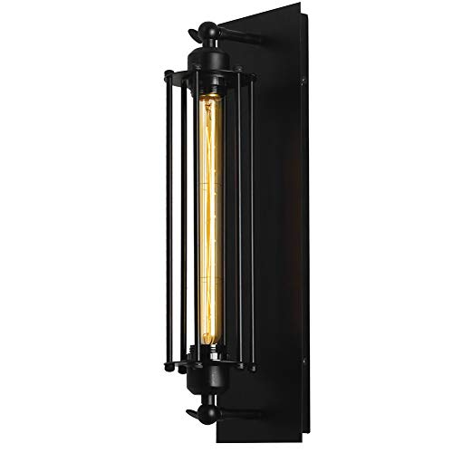 T&A Industrial Wall Sconce,1-Light Flush Mount Sconce Wire Cage Wall Light,Matte Black