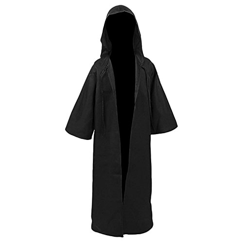 Men TUNIC Hooded Robe Cloak Knight Fancy Cool Cosplay Costume Black Kids XL -