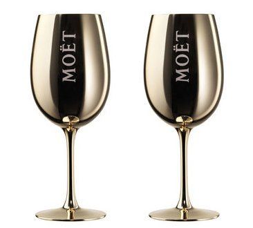 moet-chandon-imperial-dom-perignon-champagne-gold-golden-acrylic-goblets-flutes-x2