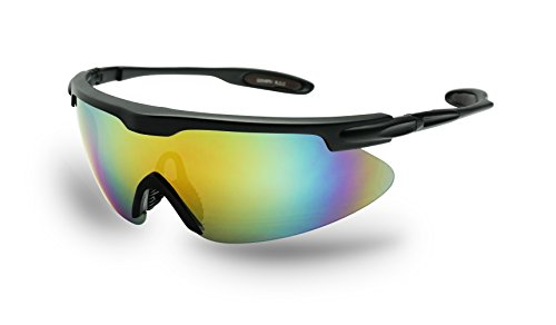 - Lightweight Oversized Sports Shield Mirrored Wrap Around Sunglasses Baseball, Cycling, Running (Black / Yellow Lens)