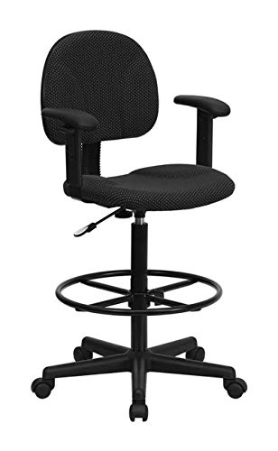 Stools 27 Drafting (Offex Black Patterned Fabric Ergonomic Drafting Stool with Arms (Adjustable Range 26''-30.5''H or 22.5''-27''H) [BT-659-BLK-ARMS-GG])