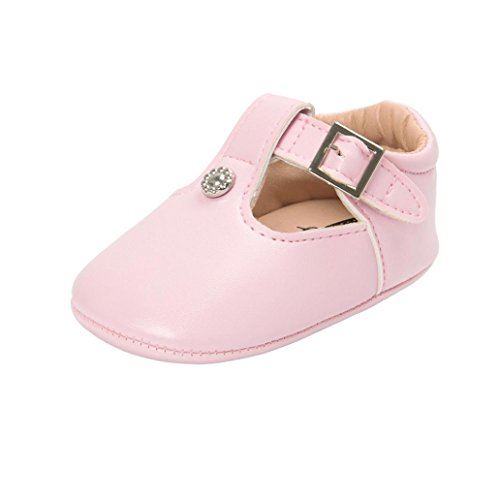 Voberry Newborn Baby Girls' Retro Leather Buckle Mary Jane Shoes (6~12 Months, Pink)