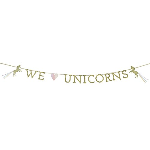 Talking Tables We Heart Unicorns Paper Banner Décor with Glitter Detail, 13 Pennants for a Children's Party or Birthday (Party Supplies Uk)
