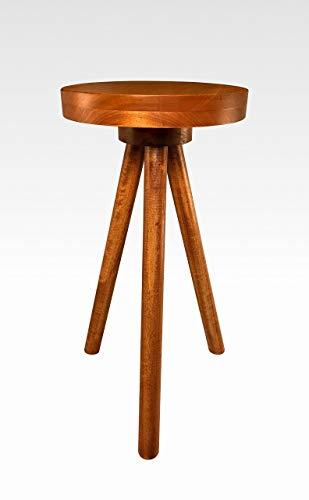 Side Table End Table Round Wood Stool by CW Furniture in Cherry Set of 2 Custom Handmade Barstool Bar Set Modern Minimal Simple Three Legged Accent Nightstand Hardwood