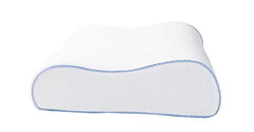 AERIS Contour Pillow,Premium Side Sleeper Pillow with Ventilated Memory Foam,Queen Size,Washable Plush Velour Cover.