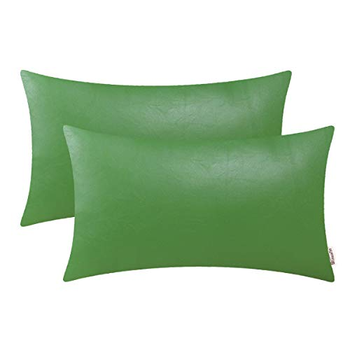 BRAWARM Pack of 2 Cozy Bolster Pillow Covers Cases for Couch Sofa Bed Solid Faux Leather Soft Luxury Cushion Covers Both Sides Home Decoration 12 X 20 Inches Forest Green (Green And Gold Cushions)