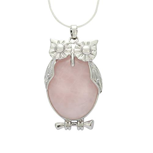 Owl Necklace Natural Rose Quartz Necklace Healing Stone Reiki Chakra Cut 18-20 Inch Gemstone Pendant Necklace (1pc) Great Gift #GGP-F7