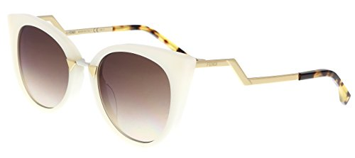 (Sunglasses Fendi 118S 0XU3 White Gold / QH brown mirror gold shaded lens)