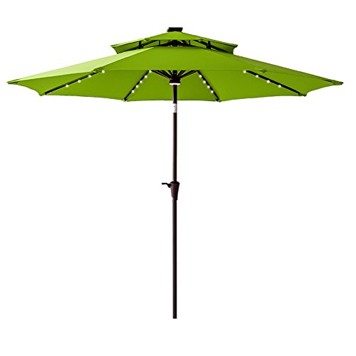 Umbrella Market 9 Base (FLAME&SHADE 9 Foot Solar LED Lights Double Top Outdoor Patio Market Umbrella with Crank Lift, Push Button Tilt, Apple Green)
