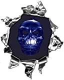 Mini Ripped Torn Metal Decal with Blue Skull -REFLECTIVE