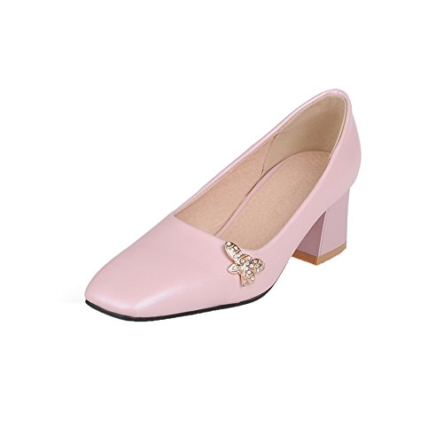 Odomolor Women's Pull-On Kitten-Heels PU Solid Closed-Toe Pumps-Shoes, Pink, 37