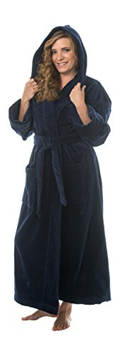 Terry Velour Hooded Bathrobe, L/XL Navy ()