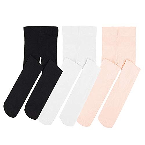 STELLE Ballet Dance Foot Tights for Girls Women Teens, Ultra Soft Convertible Tight (L, BK+WT+PK) from STELLE