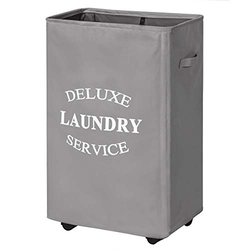 WISHPOOL 90L Rolling Laundry Hamper on Wheels Laundry Hamper for Laundry Collapsible Clothes Hamper with Wheels Large Laundry Basket Rolling Tall Laundry Cart (Grey)