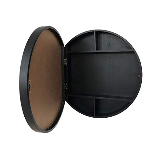 Selm Round Bathroom Mirror Cabinet, Bathroom Mirror Cabinet Solid Wood Bathroom Mirror with Shelf Wall-Mounted, Left and Right Open (Color : Black, Size : 60cm)