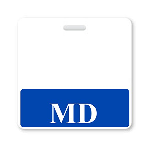 MD Horizontal Badge Buddy with Blue Border from Specialist ID, Sold Individually