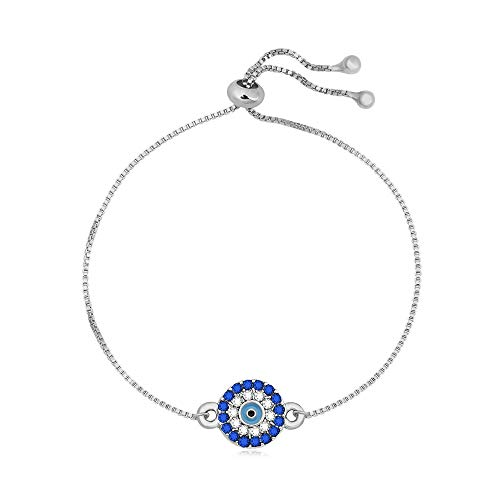 "SENFAI Blue Turkey Evil Eye Charm Bracelet Expandable 1 for All Wrist 3 Tone 9"" (Silver)"