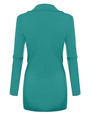 Autunno V Vintage Shirt Casual Eleganti Basic Ragazza Camicetta Fashion Colori Lunga Tops Slim Irregular Donna Primaverile Tunica Solidi Verde Fit Bluse Neck Luce Manica qtPa1wWxz