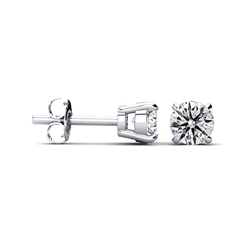 1 cttw 14k White Gold Round Diamond Stud Earrings (AGS Certified K-L, I2-I3)