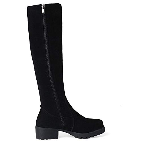 Chaussures Chaudes Plates Hiver Décontractée Femmes Élégant Bottes Noir Longue Taoffen wqTUXZX
