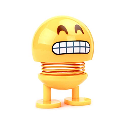 Binory Cute LED Smiley Doll Car Ornament Interior Dashboard Decoration Bounce Toys,Novelty Decompression Action Figure Toys Birthday Gift for Kids Adults(H)