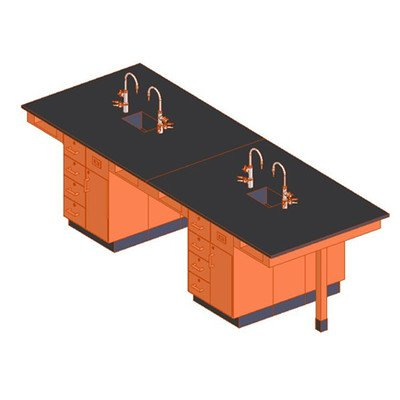 Diversified Woodcraft C2424K UV Finish Solid Oak Wood 8 Station Service Center with Phenolic Resin Top, 11' Width x 36