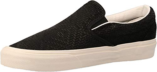 Vans Womens Classic Slip On Perf Fabric Low, Mono Chambray/Black/Black, Size 7.5 (Vans Slip On Women Perf)