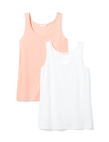 Cotton Cami Pink (Daily Ritual Women's Lightweight 100% Supima Cotton Tank Top, White/Pink-Peach,Large)