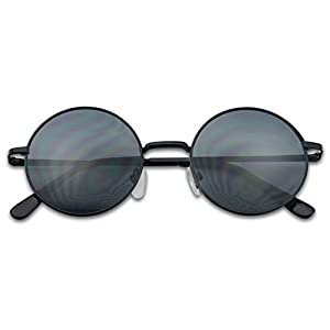 Small 45mm Round 60s John Lennon Circle Metal Frame Sunglasses (Black, Black)