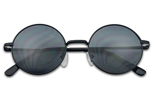 Small 45mm Round 60s John Lennon Circle Metal Frame Sunglasses (Black, - Black Sunglasses Dark Round