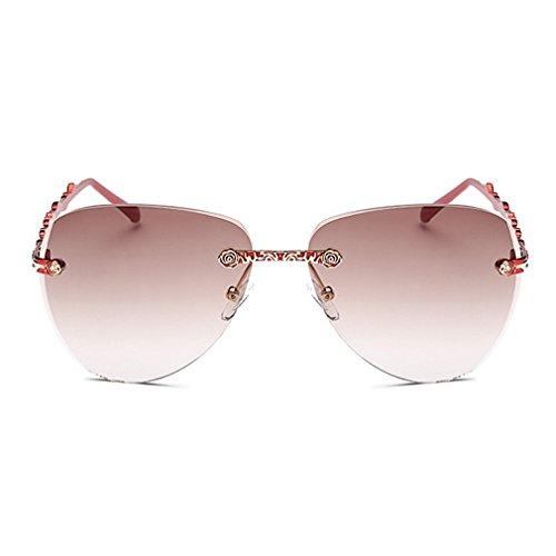 LOMOL Womens Trendy Metal Frame UV Protection Personality Drive Beach - Wholesale Golden Sunglasses Bridge
