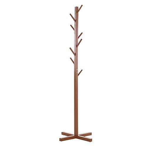 - Premium Wooden Coat Rack Free Standing, with 8 Hooks Lacquered Pine Wood Tree Coat Rack Stand for Coats, Hats, Scarves, Clothes, and Handbags (Coffee)