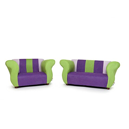 KEET Sofa and Chair Fancy Kid's Set, (Set Suede Sofa)