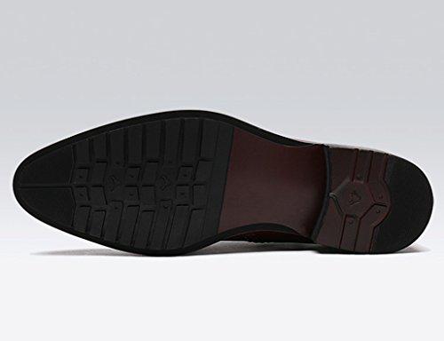 Herren Lederschuhe Herren High-Top-Leder Freizeitschuhe Männlich Spitze Britischen Stil Martin Stiefel Kurze Stiefel Herrenschuhe ( Farbe : Dark wine red , größe : EU44/UK8.5 ) Schwarz