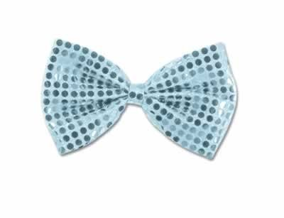 Silver Glitz N Gleam Bow Tie - Silver- Pack of 12