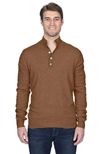 State Fusio Men's Cashmere Wool Button Mock-Neck Classical Fashion Polo Collar Sweater Pullover